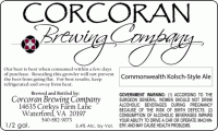 Corcoran Brewing Commonwealth Kolsch