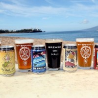 Maui Brewing cans glasses
