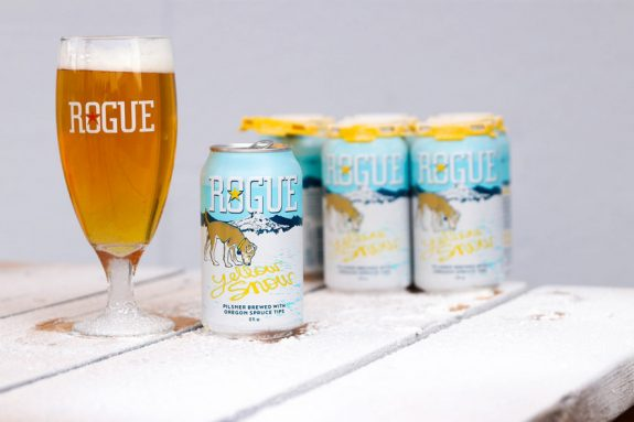 Rogue Yellow Snow Pilsner cans BeerPulse