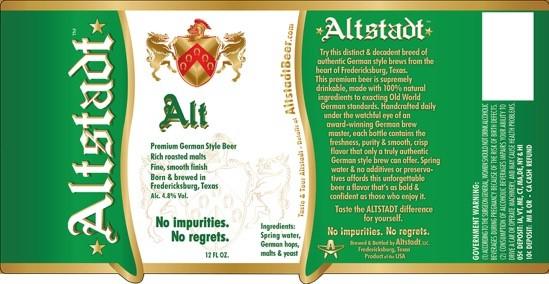 Altstadt Brewery Altbier label BeerPulse