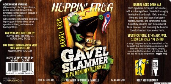 Hoppin' Frog BA Gavel Slammer label BeerPulse