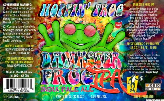 Hoppin Frog Dankster Frog IPA label BeerPulse