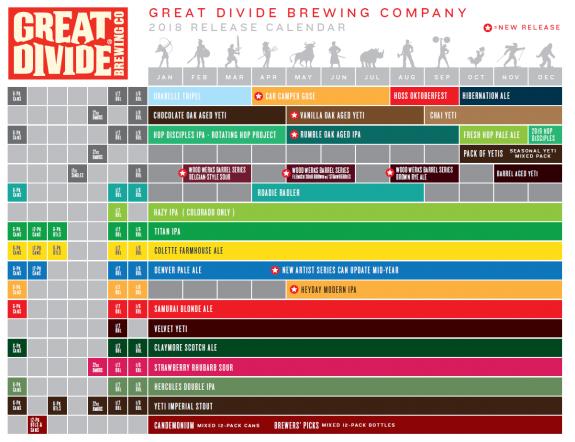 Great Divide Brewing 2018 Seasonal Calendar
