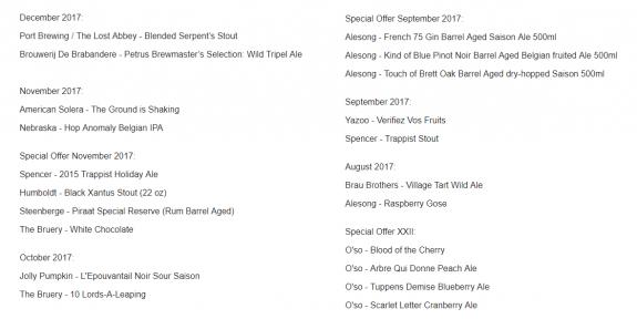 Rare Beer Club 21 beers list