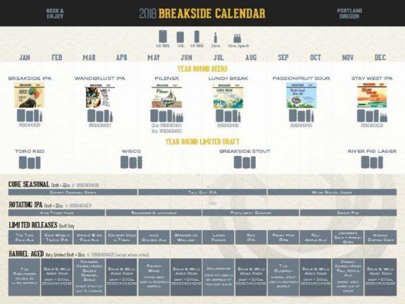 Breakside Brewing 2018 Calendar