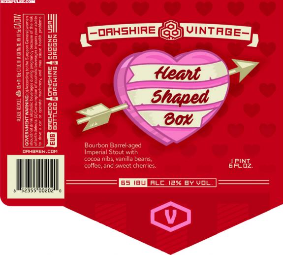 Oakshire Heart Shaped Box label BeerPulse