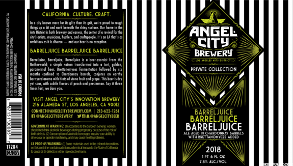 Angel City BarrelJuice label BeerPulse