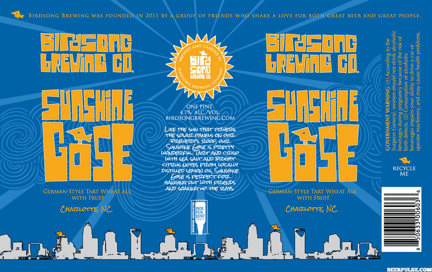 Birdsong Sunshine Gose Release Set For Earth Day Party On